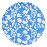 Azure Blue Tropical Hibiscus Dinner Plates
