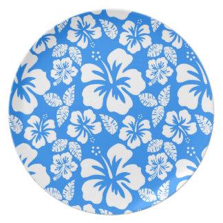 Azure Blue Tropical Hibiscus Melamine Plate