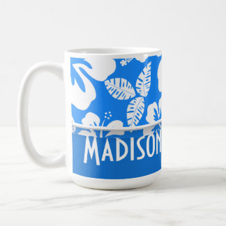Azure Blue Tropical Hibiscus; Personalized Classic White Coffee Mug