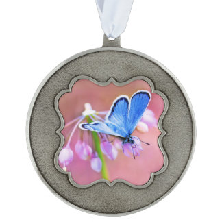 Azure Butterfly Scalloped Ornament