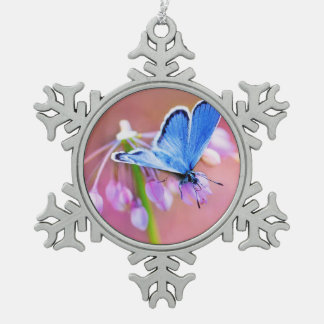 Azure Butterfly Snowflake Pewter Christmas Ornament