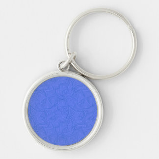 Azure curved shapes Silver-Colored round keychain