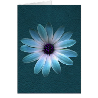 Azure Daisy on Dark Till Leather Print Greeting Card