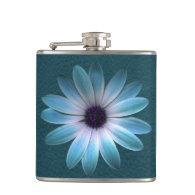 Azure Daisy on Dark Till Leather Print Flasks (<em>$33.95</em>)