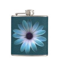 Azure Daisy on Dark Till Leather Print Hip Flasks (<em>$33.95</em>)