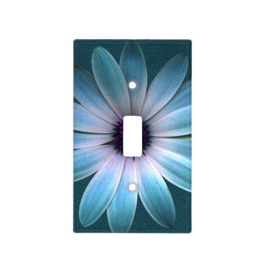 Azure Daisy on Dark Till Leather Print Light Switch Cover