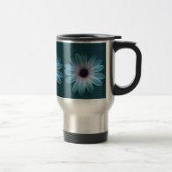 Azure Daisy on Dark Till Leather Print Mug (<em>$31.95</em>)