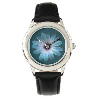 Azure Daisy on Dark Till Leather Print Wristwatch