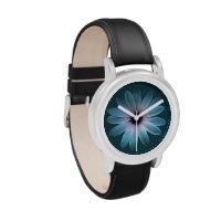 Azure Daisy on Dark Till Leather Texture Watches (<em>$51.95</em>)