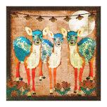 Azure Deer Moonlight Garden  Canvas Art Stretched Canvas Prints