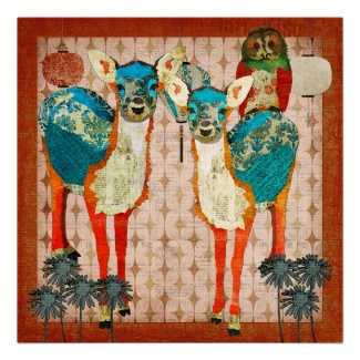 Azure Deer & Rose Owl Amber Fiesta Poster