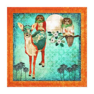 Azure Fawn & Rose Owls Full Moon Canvas Print