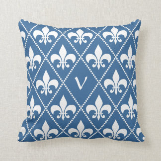 Azure Fleur de Lis with monogram initial Throw Pillow