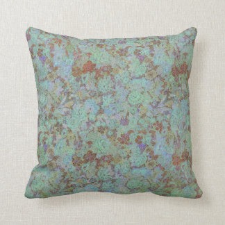 Azure Floral Throw Pillow