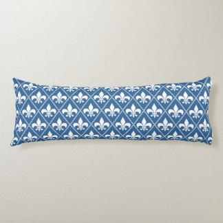 Azure Gray Fleur de Lys Body Pillow