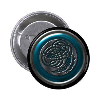 Azure Iron Celtic Dragonknot Button