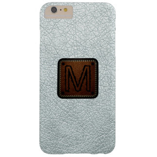 Azure mist Leather Look Monogram Barely There iPhone 6 Plus Case