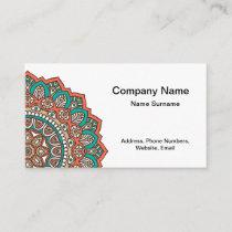 Azure Orange Mandala Two-sided Business Card