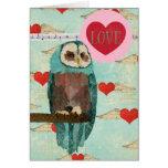 Azure Owl Love Card