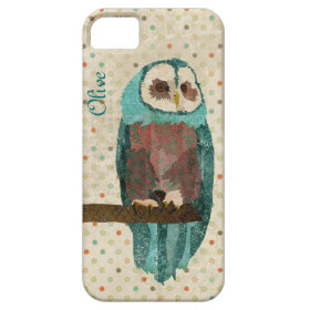 Azure Owl Vintage iPhone Case iPhone 5 Cover
