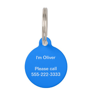 Azure Solid Color Customize It Pet Tag