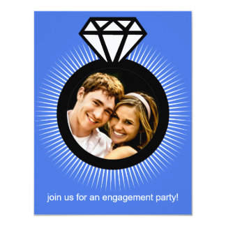 Azure The Ring Photo Engagement Party 4.25x5.5 Paper Invitation Card