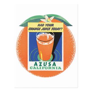 Azusa, California Orange Juice Poster Postcard