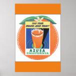 Azusa California Vintage Travel Poster