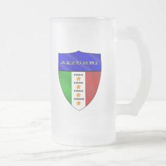 Azzurri 4 times world champions shield frosted glass beer mug
