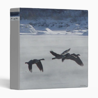 B0048 Canadian Geese Over Frozen River 3 Ring Binder