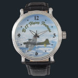 """B17 Flying Fortress WWII Bomber Airplane Wrist Watch<br><div class=""""desc"""">The American WWII bomber B-17 Flying Fortress is the most beautiful plane ever built. The airplane image appears to soar over the clouds against the blue sky. This design is perfect for WWII history buffs and aviation enthusiasts,  especially fans of the B-17 bombers.</div>"""