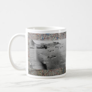 B17 Formation Over WW2 Map Coffee Mug