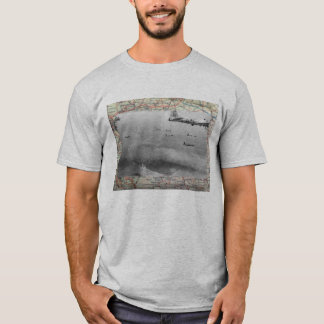 B17 Formation Over WW2 Map T-Shirt