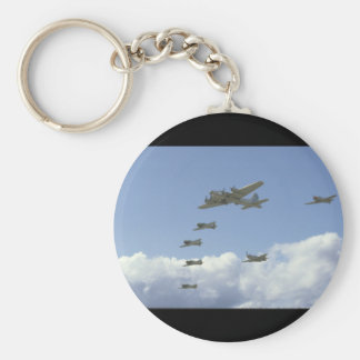 B17, Mustang, 5 T6's, In Formation_WWII Planes Keychain