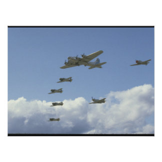 B17, Mustang, 5 T6's, In Formation_WWII Planes Poster