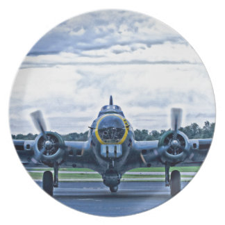 B17 Vintage Airplane Aircraft Flying Dinner Plate