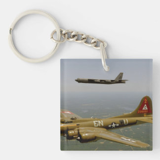 B17G and B52H Bombers in Flight Keychain