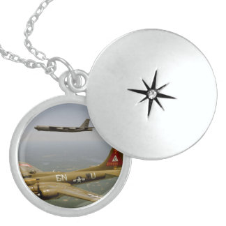 B17G and B52H Bombers in Flight Round Locket Necklace