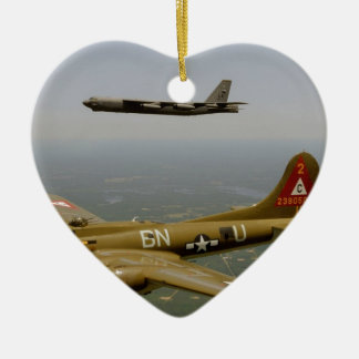 B17G and B52H Bombers in Flight Christmas Tree Ornament