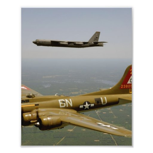 B17G and B52H Bombers in Flight Photographic Print