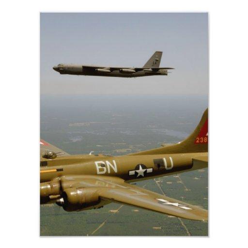 B17G and B52H Bombers in Flight Photo