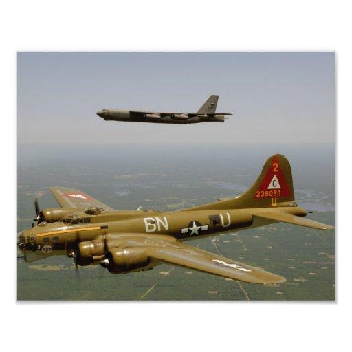B17G and B52H Bombers in Flight Art Photo