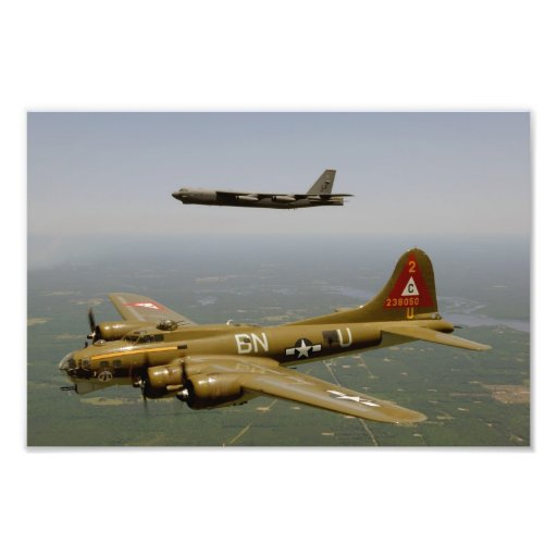 B17G and B52H Bombers in Flight Photograph