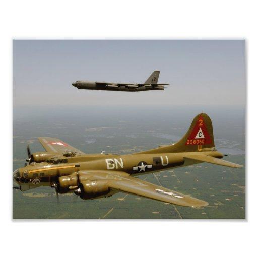 B17G and B52H Bombers in Flight Photo Art