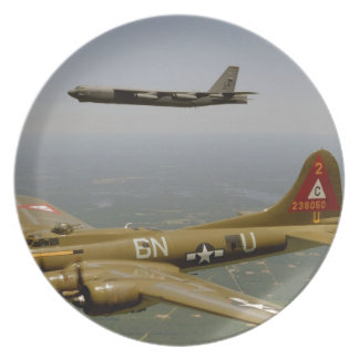 B17G and B52H Bombers in Flight Dinner Plate