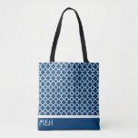 """B1 Quatrefoil Minor Monogram Tote Bag<br><div class=""""desc"""">monogrammed dark blue quatrefoil patterned all over print tote bag</div>"""