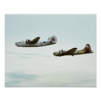 B24 and B17 Flying Poster