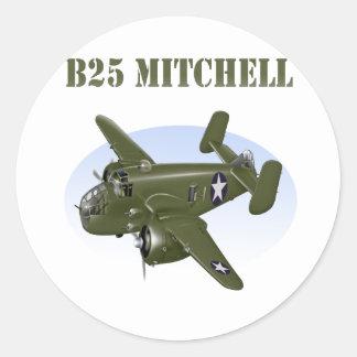 B25 Mitchell Bomber Green Plane Classic Round Sticker