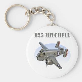 B25 Mitchell Bomber Silver Plane Basic Round Button Keychain