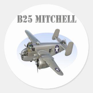 B25 Mitchell Bomber Silver Plane Classic Round Sticker
